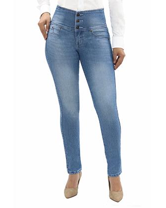 Skinny Fit Jeans Levantapompis Pretina 3 Botones Celeste