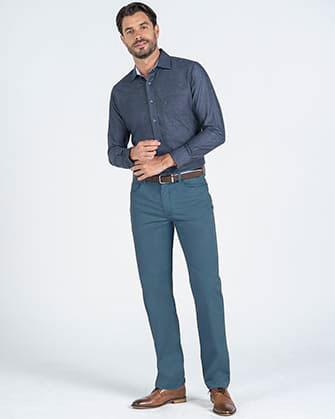 Pantalon twill manhattan slim fit 5 pocket azul