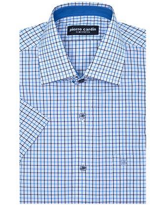 Camisa comfort stretch blue square