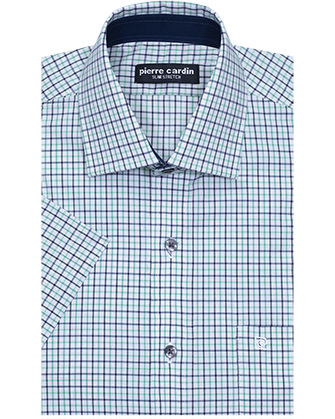 Camisa comfort stretch green square