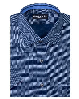 Camisa estampada manga corta slim fit blue hills