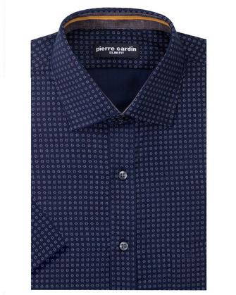 Camisa estampada manga corta slim fit blue island