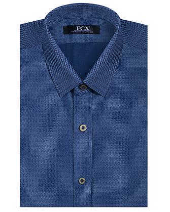 Camisa manga larga denim blue dots