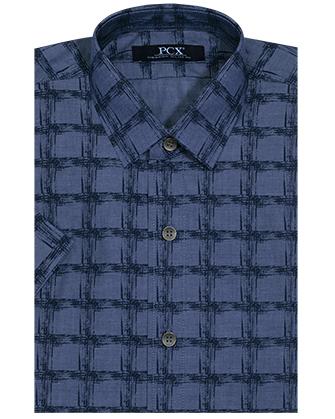 Camisa manga corta denim blue canvas