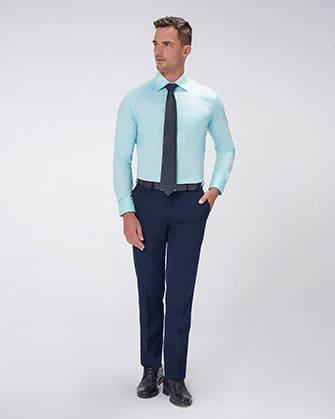 Pantalón de vestir manhattan slim fit stretch azul